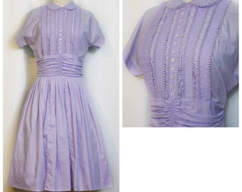 1950s Purple Cotton Day Dress