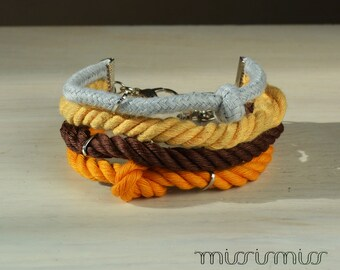 Eco-friendly honey yellow rope bracelet .