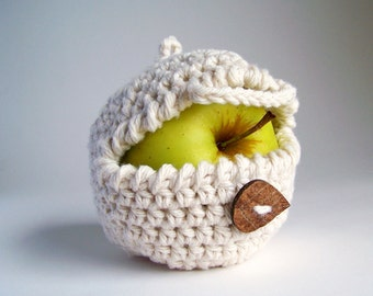 Apple Cozy, Crochet Apple Cozy, Snack Bags, Spring Gifts, Crochet Cozy, Apple Decor, Rustic Wedding Favors,  Gifts For Children, Vegan Gifts