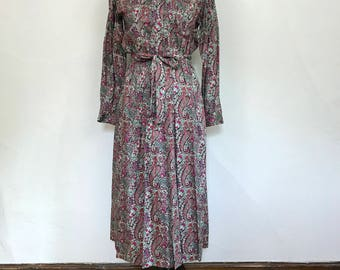 Vintage 1970s/1980s Floral Liberty Print Cotton Shirt Dress // Thomas and Jonathan of Canterbury // Size Small/Medium // Waist 27 28 29 30