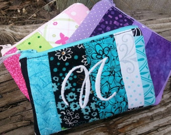 Personalized Coin Purse, Patchwork Zipper Wallet, Girl's Change Purse, Ear Bud Pouch, credit card pouch