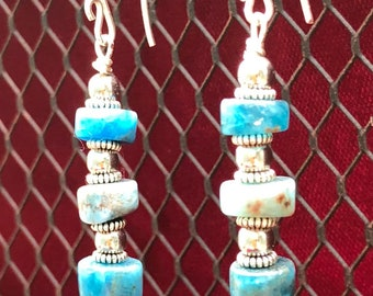 Apatite and silver beaded dangles