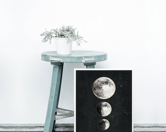 Moon phases print - Dark moon phases posters - Moon phases prints - Black moon phases print - Moon phases wall art - Astrology prints