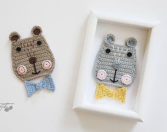 Kuma the Bear Crochet Pattern, Bear Crochet Pattern, Bear Crochet Applique Pattern, Bear Pattern, Scandinavian Style, Scandinavian, DIY