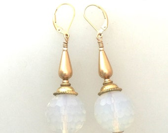 Opaline and 14 Ct Gold Fill Earrings With Lever Backs