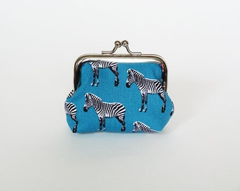Coin purse, zebra fabric, turquoise blue cotton zebra design, cotton pouch, cotton purse