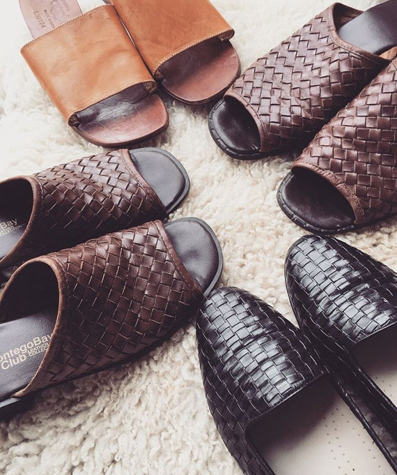 5 Sandals toed Size in Summer Brown Made Mules Sandals Women's 6 Women's Vintage 90's Open Woven Leather Brazil Ct76vwaqx0