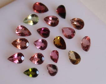 3x4  mm Pear Multi-Color Tourmaline Faceted AAA Quality-Top Quality Tourmaline