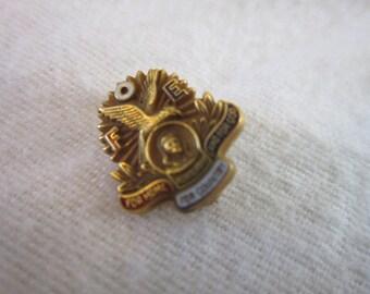 Vintage Fraternal Order of Eagles Pinback Gold Filled