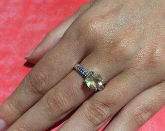 SALE !!!! Lemon Quartz ring -lemon quartz and blue sapphire ring-silver ring-engagement ring