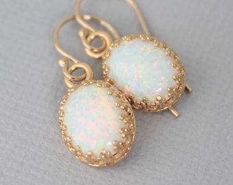 Gold Opal Earrings, White Oval Opal Earrings, Gold Opal Jewelry, October Birthstone Jewelry, Bridesmaid Gift, Matching Jewelry