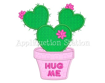 Cactus Hug Me Heart Applique Machine Embroidery Design flower valentine INSTANT DOWNLOAD