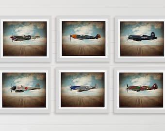 Vintage Wwii Airplanes on Sky Background Setof 6 Photo Prints, Airplane Wall decor, Boys Room Decor, Airplane Wall Art