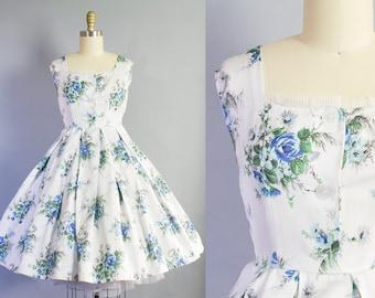RESERVED  1950s Blue Rose Print Dress | Small Petite (36B/26W)