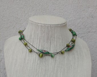Green Ceramic Multi-Strand Bead Necklace with Floating Effect