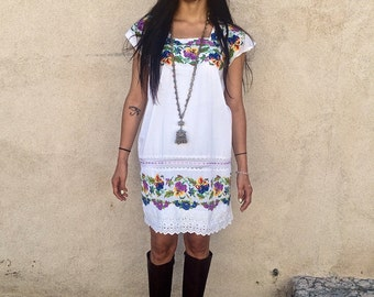 Vintage 60s cotton hand embroidery mini tunic dress  SMALL