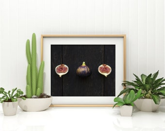 fig v. two //  food photography print // kitchen decor // dining room // minimalist art print // rustic farmhouse wall art