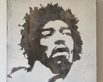 Jimi Hendrix Graffiti Stencil Art Painting on Wood with Acrylic Gel Topcoat