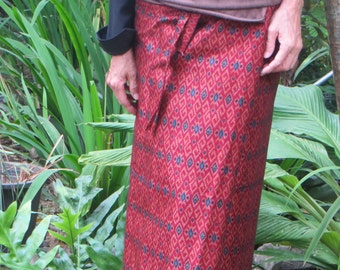 Red Silk Blend Sarong from Thailand