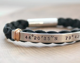 Custom Coordinates Bracelet, His Or Hers Coordinates, Personalized Location, Silver Leather, Longitude Latitude, Bronze Accent, Custom Gift