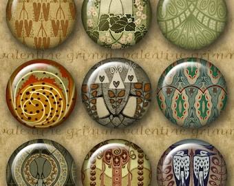 1 inch JUGENDSTIL Digital Printable Circles collage sheet for Pendants Jewelry Magnets Crafts...Art Nouveau Vienna Secessionist