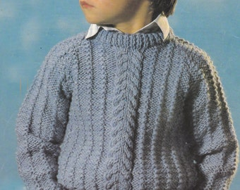 Pdf postman pat knitting pattern instant pdf download sweater vintage knitting pattern boys chunky raglan cable sweater bulky pdf instant download pattern only pdf 22 dt1010fo