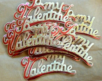 """Vintage Embossed Gold and Red Foil """"To My Valentine"""" Stickers"""