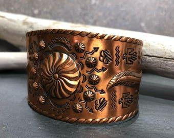 Vintage Copper Cuff Bracelet Southwestern Style