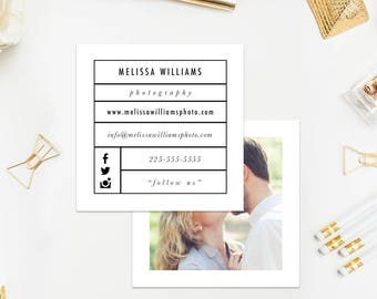 Business Card Template Square Business Card Instant Download Photoshop Template PSD Editable Template For Photographers Branding DIY
