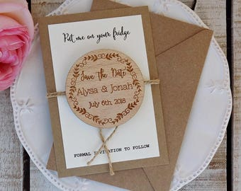Rustic Save The Date Magnet Wood Save The Date Wedding Invites Wedding Invitations Wooden Magnet Bridal Shower Invite Baby Shower Invite
