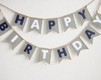 boy birthday banner, happy birthday boy banner, burlap happy birthday banner, happy birthday sign, birthday decor, happy birthday banner