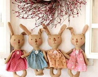 Primitive Bunny Cloth Doll Pattern, Primitive Grungy Bunnies pattern, Easter bunny pattern, HFTH191
