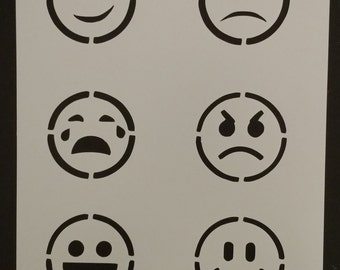 "2.5"" Emoticons Emoji Smiley Face Emoticon Custom Stencil FAST FREE SHIPPING"
