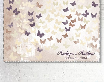 Romantic Wedding Guestbook with butterflies. Wedding Guest book. Alternative wedding guestbook. Choose your color and number butterflies