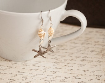 Silver Starfish and Shell Earrings