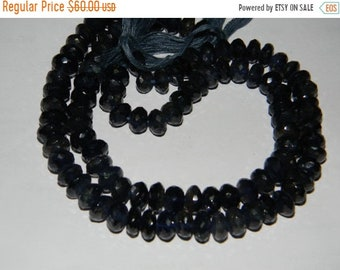 10 inch strand--8 - 8.50 mm approx--A Quality Dark Iolite Micro Faceted Roundell Beads