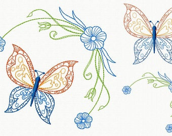 Machine Embroidery Design - Butterfly and Floral #09