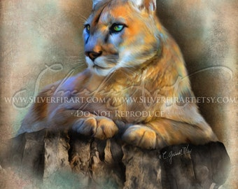 Kia...Cougar Large Cat Wildlife Study-  Print - Your Choice of Size - Wildlife Cougar Art Painting