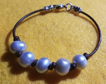 Gray Freshwater Pearls on Leather Cord with Lobster Clasp Closure