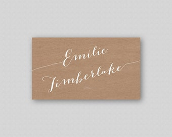 Calligraphy Place Cards Printable, White Calligraphy Wedding Placecards, Rustic Place cards, Rustic Name Cards, Calligraphy Name Cards Kraft