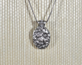 Handmade Flower Pendant set with Diamond CZs, Fine Silver PMC Necklace
