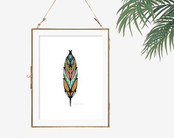 Teal and orange print white coral color wall art unframed sketch feather drawing boho chic style tribal poster black white turquoise bedroom
