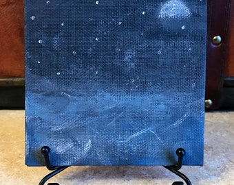 "Night at Sea // Mini 4"" x 4"" Canvas Painting // Acrylic on Canvas // Gothic Art // Visions, Dreams"