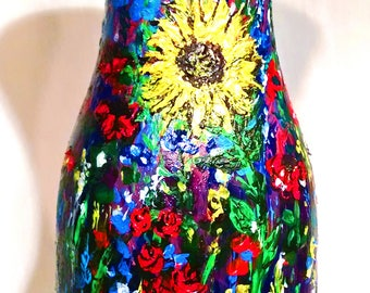 Hand-painted Wildflower Mural Art Piece and Vase