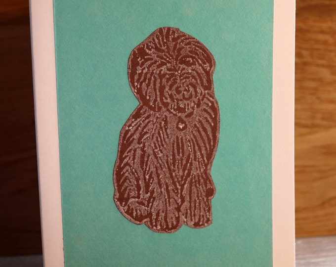 Cockerpoo Greeting Card, Blank inside, Hand printed & paper cut on to green background, love dogs, pooch, fur baby, pet, woof, Birthday.