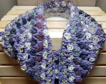 Purple and gray variegated infinity scarf, fashion accessory, hand made fiber art, fashion scarf