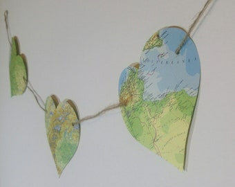 Map Paper Bunting | Large Heart Bunting l Vintage Map Garland | Travel Theme Decor | Housewarming | Party Decoration l Shabby Chic