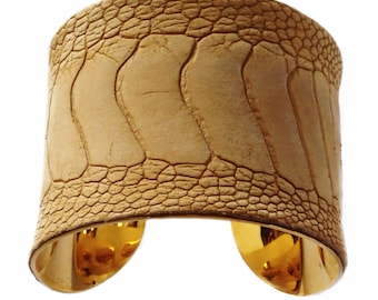 Honey Wheat Ostrich Leather Gold Lined Cuff Bracelet - by UNEARTHED