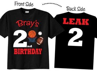 Sports Birthday Shirts Sports  2nd Birthday Tshirts for any Age or Birthday on BLACK shirts