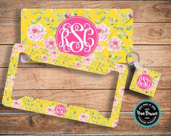 License Plate, Car Plate, Back Car Tag, Yellow, Floral, Roses Monogram License Frame, Bicycle Tag, Front Car Tag, Personalized Tag 59LTy